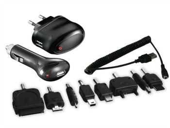 Sandberg sada napájecí adaptéry, 7 adaptérů, 1x 230V do zásuvky, 1x 12V do auta