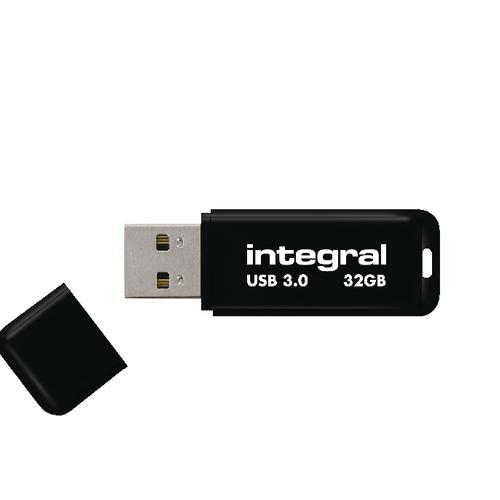 Integral USB 32GB Black, USB 3.0 with removable cap