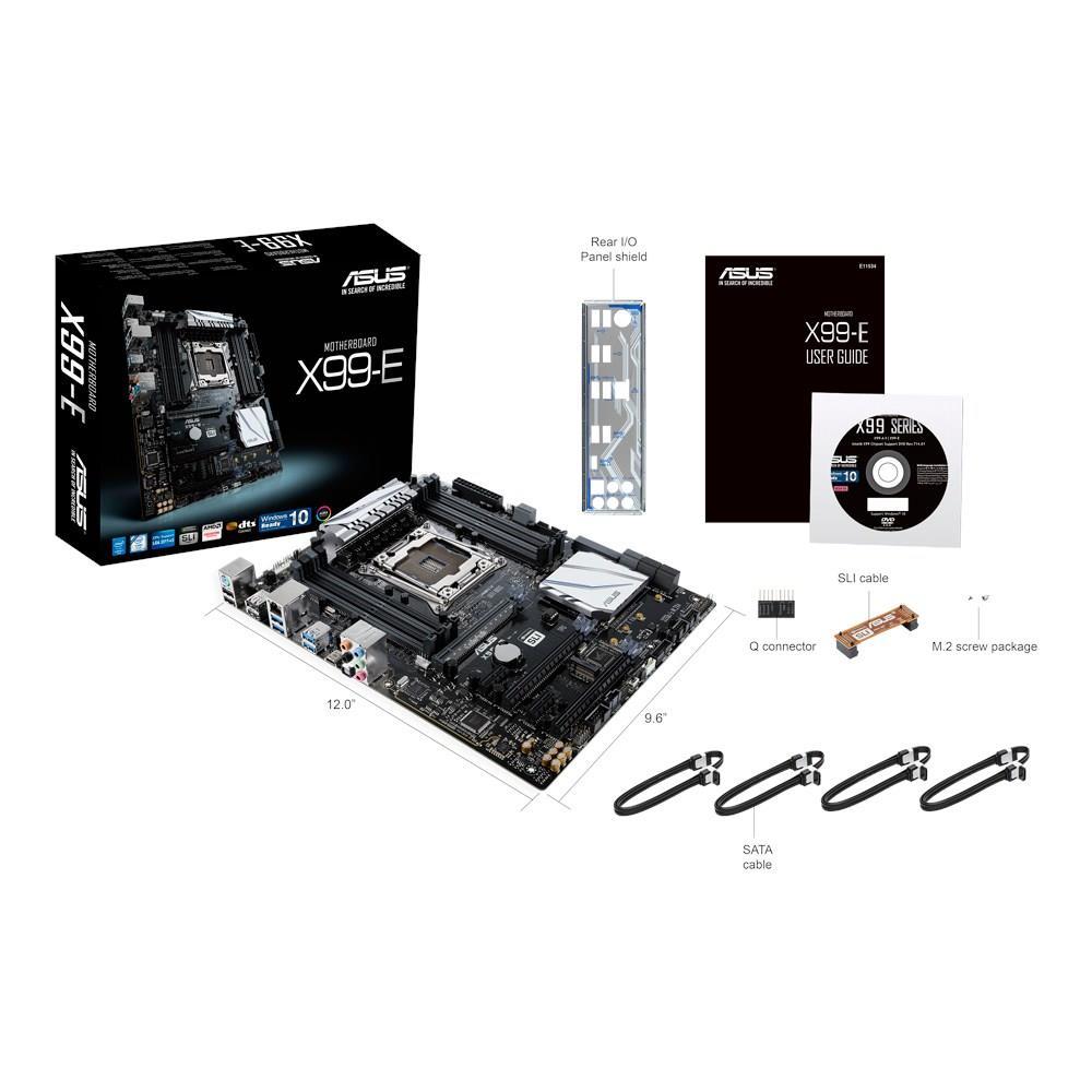 ASUS X99-E, X99, QuadDDR4-2133, SATAe, SATA3, M.2, USB 3.1, ATX