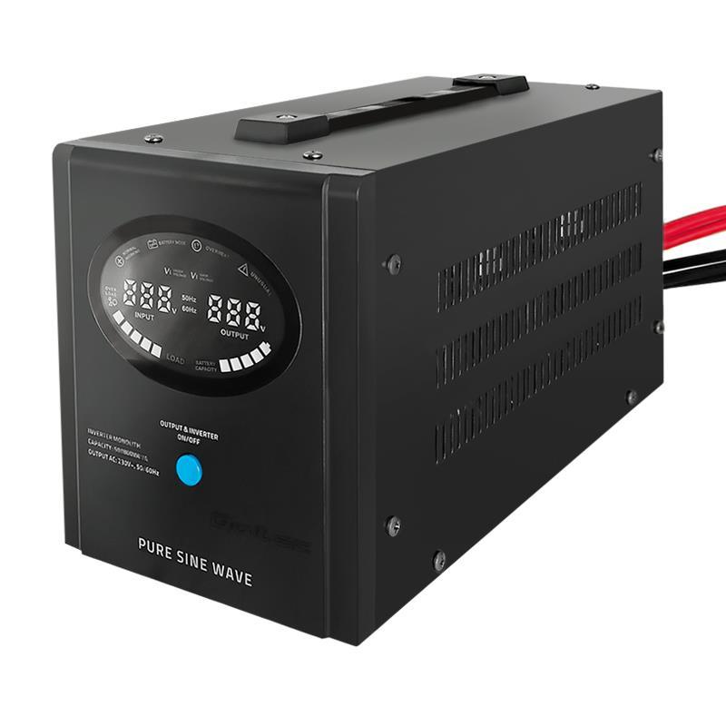 Qoltec Inverter/ Emergency power supply Pure Sine Wave 700W 1000VA LCD black