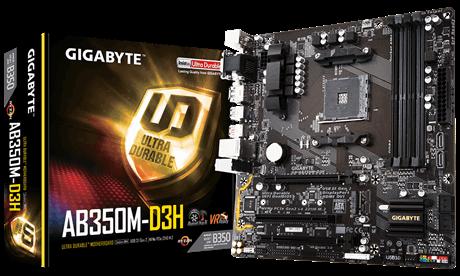 Gigabyte GA-AB350M-D3H, AM4, DDR4 3200, D-Sub/DVI