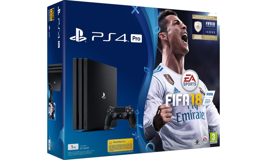 Sony Playstation 4 Pro 1TB + FIFA 18 + Playstation Plus 14 days