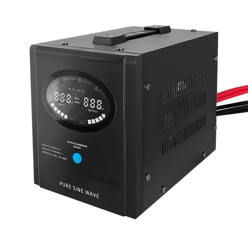 Qoltec Inverter/ Emergency power supply Pure Sine Wave 500W 800VA LCD black