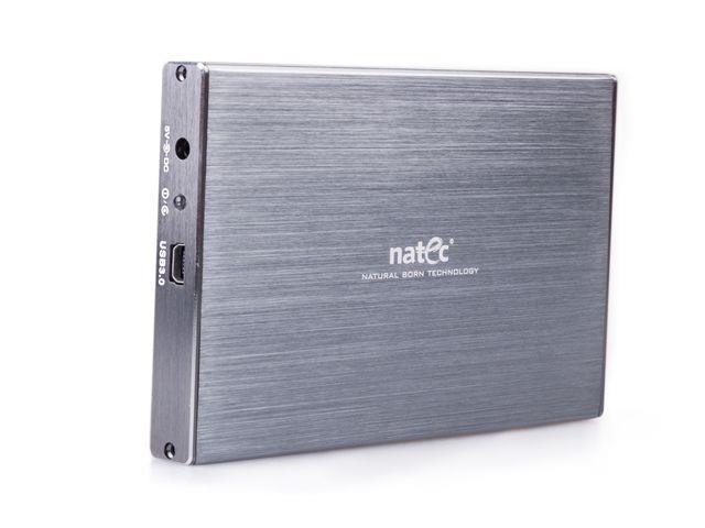 Natec RHINO LTD Externí box pro 2.5'' SATA HDD, USB 3.0, slim, hliníkový, šedý