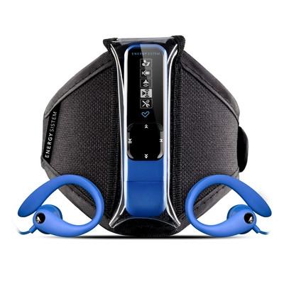 ENERGY Active 2 Neon Blue 4GB, MP3 sportovní přehrávač, FM, USB, sluchátka, sportovní pouzdro na ruku