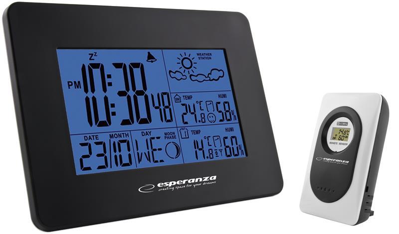 Esperanza EWS102K CUMULUS Multifunkční meteostanice s bezdrátovým čidlem, černá