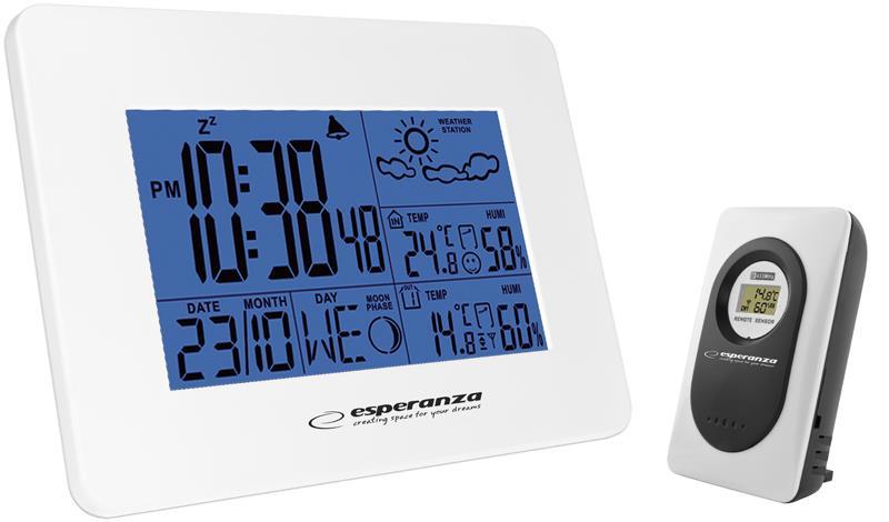 Esperanza EWS102W CUMULUS Multifunkční meteostanice s bezdrátovým čidlem, bílá