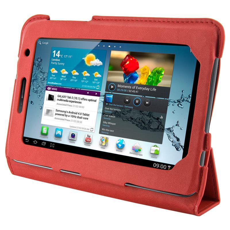4World Pouzdro - stojan pro Galaxy Tab 2, 4-Fold Slim, 7'', červený