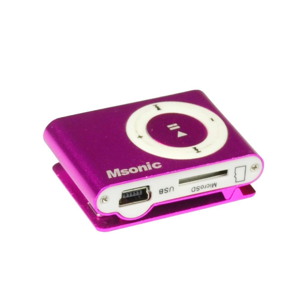 MSONIC MP3 přehrávač s čtečkou karet, sluchátka, miniUSB kabel, hliník růžová