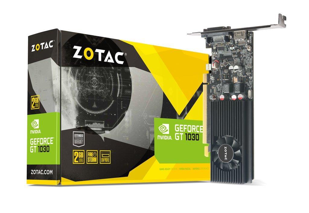 ZOTAC GeForce GT 1030 Low Profile, 2GB GDDR5, DVI-D, HDMI 2.0b