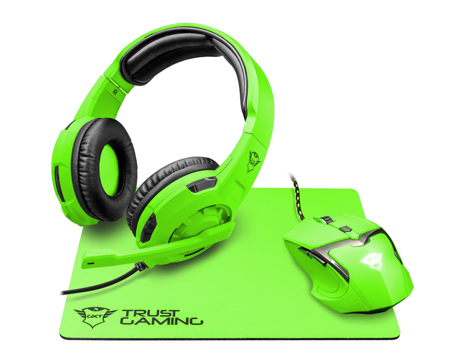 TRUST Sluchátka s mikrofonem GXT790 SG hern myÅ¡ SPECTRA GAMING BUNDLE green