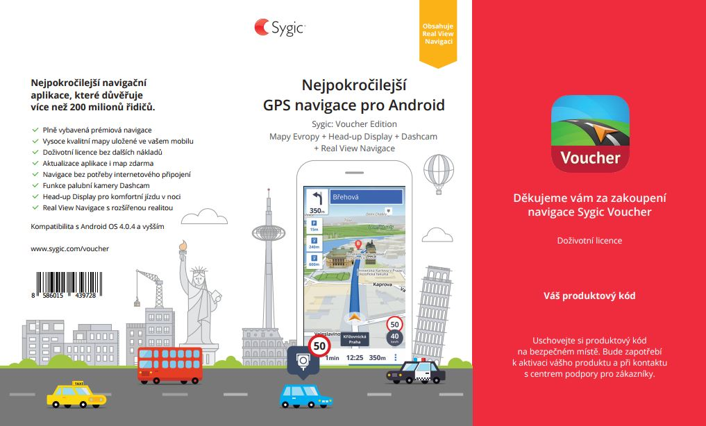Sygic Voucher - Europe - Premium and Real View Navigation - Lifetime - retail