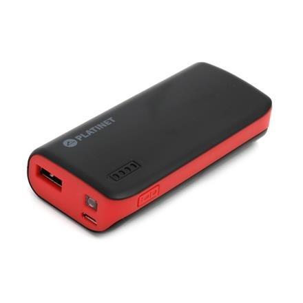 PLATINET POWER BANK 4400mAh + microUSB kabel + svítilna černá/červená
