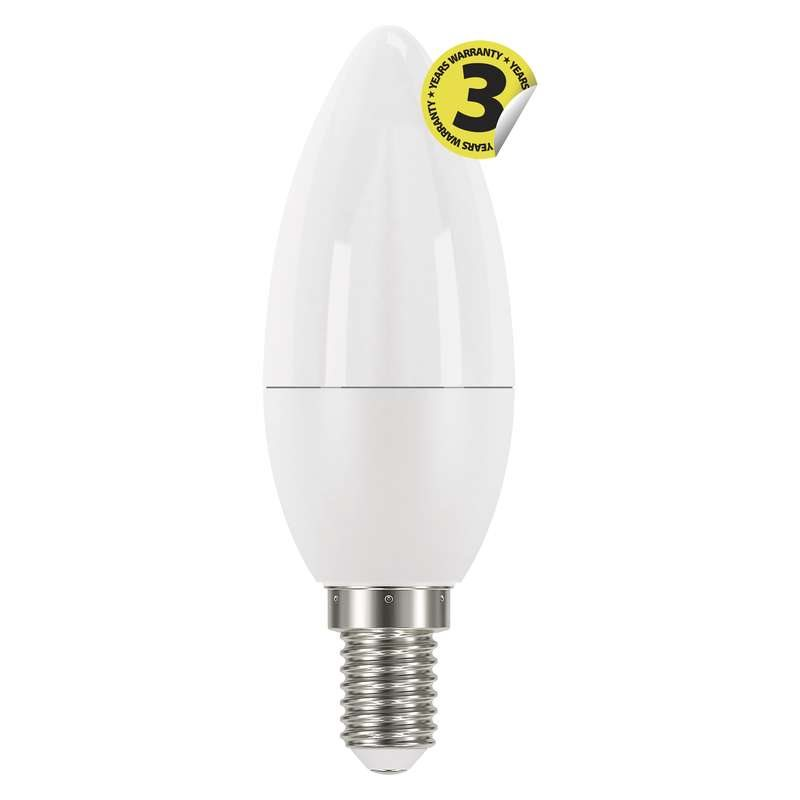 Emos LED žárovka CANDLE, 6W/40W E14, WW teplá bílá, 470 lm, Classic A+