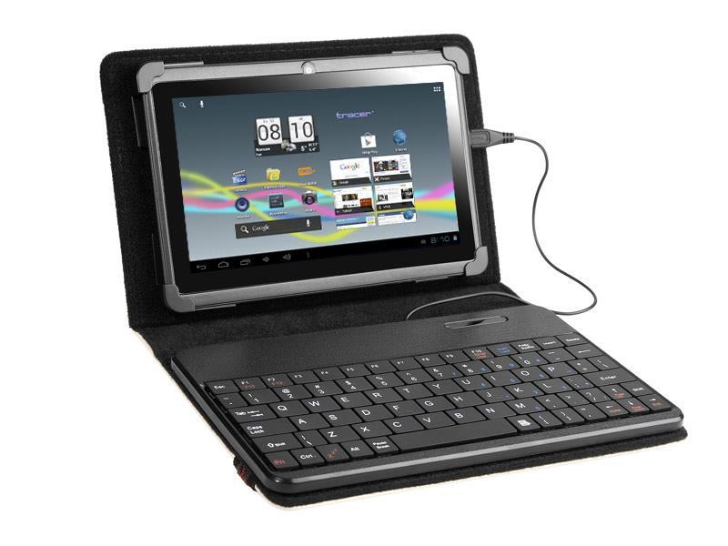 Tracer SmartFit pouzdro pro tablet 7''-8'' s klávesnicí, micro USB, eko kůže, b.