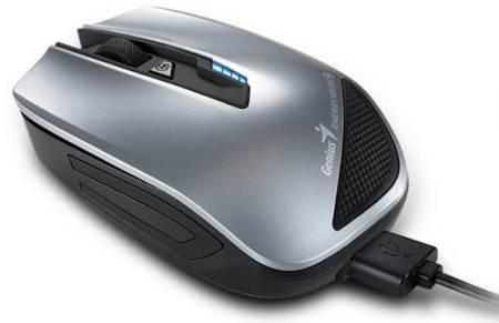 GENIUS Energy Mouse/ bezdrátová 2.4GHz/ 1200 dpi/ USB/ černostříbrná/ Power Bank funkce/ 2700 mAh kapacita