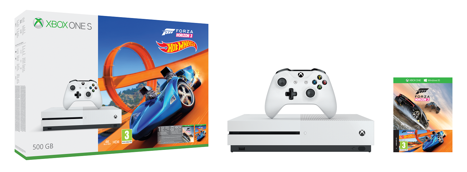 XBOX ONE S 500 GB + Forza Horizon 3 + Forza Horizon 3 Hot Wheels DLC