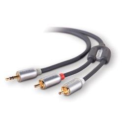 Belkin kabel audio zvukový Y, konektor 3,5mm/kolíky 2RCA - 2,1m -Blue
