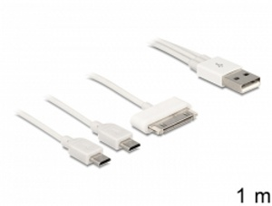 Delock USB multi napájecí kabel 1 x 30 Pin Apple / Samsung, 1 x Mini USB, 1 x Micro USB