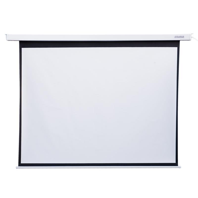 4World Elektrické promítací plátno, dálkový ovladač, 244x183 (4:3) bílá matná