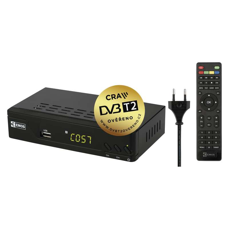 Emos EM170 HD - set-top-box DVB-T2 HEVC/h.265, USB, LAN
