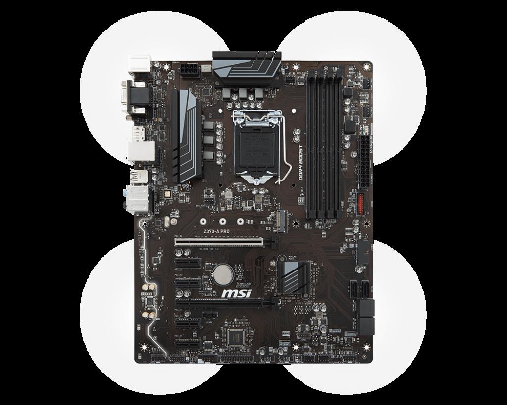 MSI Z370-A PRO, s. 1151, Z370, 4x PCI-E x1, 2x PCI-E x 16, 4x DDR4, SATA III, D-Sub, DVI, DP, ATX