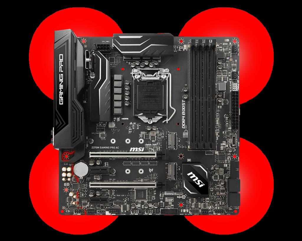 MSI Z370M GAMING PRO AC, s. 1151, Z370, 1x PCI-E x1, 2x PCI-E x16, 4x DDR4, SATA III, USB 3.1, DVI, HDMI, DP, uATX