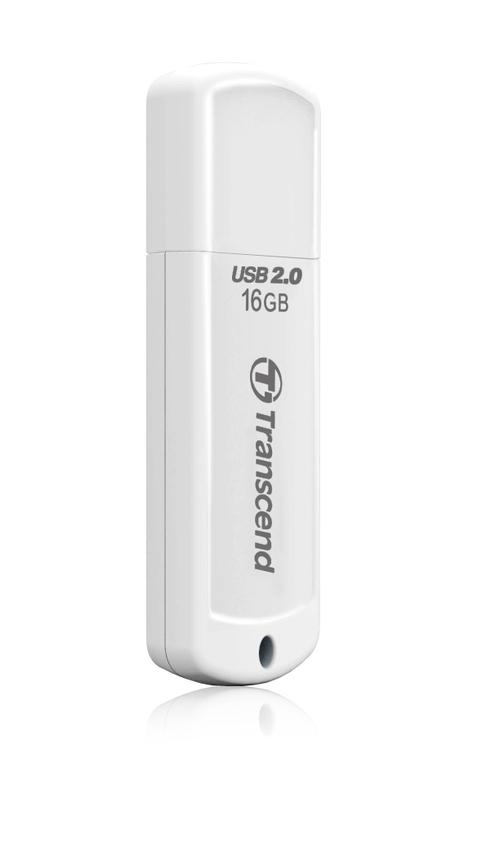 TRANSCEND USB Flash Disk JetFlash®370, 16GB, USB 2.0, White (R/W 13/4 MB/s)