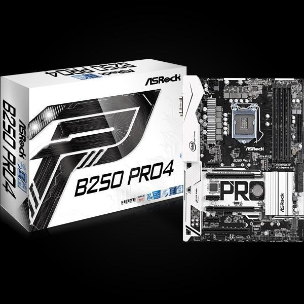 ASROCK MB B250M PRO4 (intel 1151, 4xDDR4 2400MHz, VGA+DVI +HDMI, USB3.0, 6xSATA3 + 2xM.2, 7.1, GLAN, mATX)