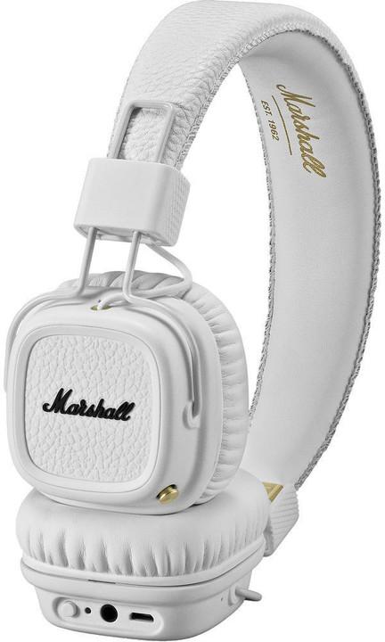 Marshall Major II Bluetooth White, uzavřená bezdrátová sluchátka s mikrofonem a ovladačem