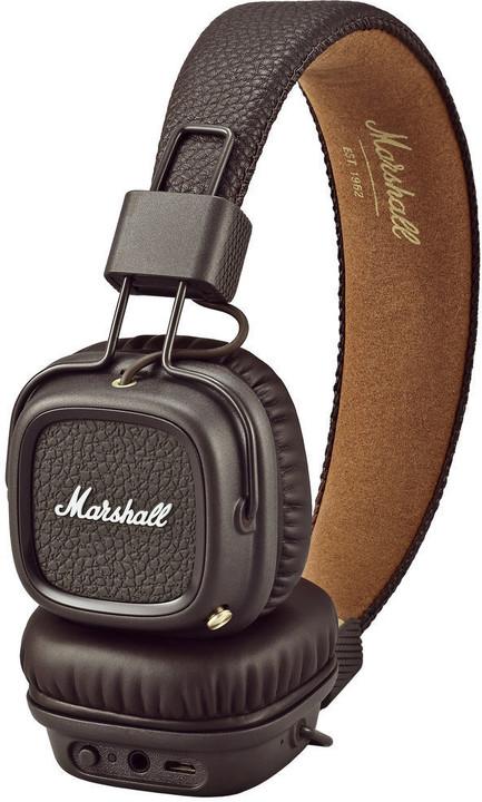 Marshall Major II Bluetooth Brown, uzavřená bezdrátová sluchátka s mikrofonem a ovladačem