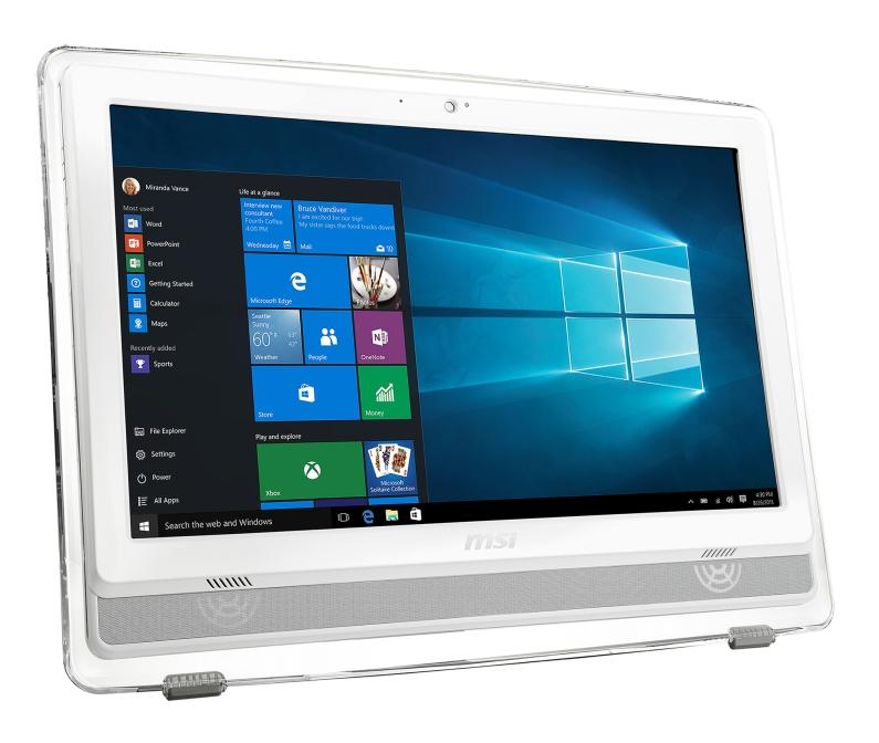 "MSI AIO Pro 22ET 7M-086EU Multi Touch/Pentium® G4560/4GB/1TB HDD/DVD/RW/HD Graphics 610/21.5"" FHD/WHITE/Win 10 home"