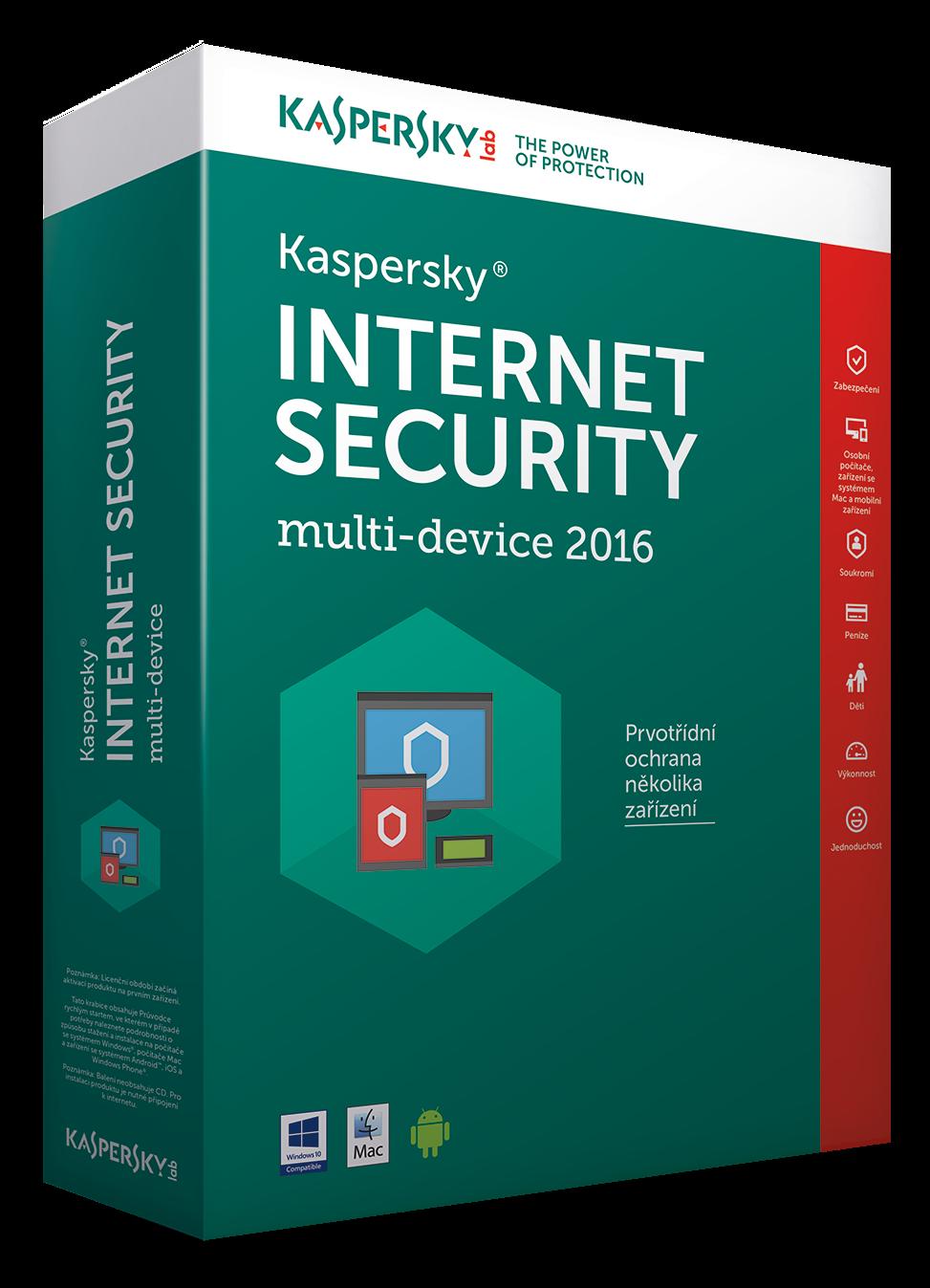 Kaspersky Internet Security MD 2016/2018 3+1 zařízení /1 rok NOVÁ licence CZ Krabice
