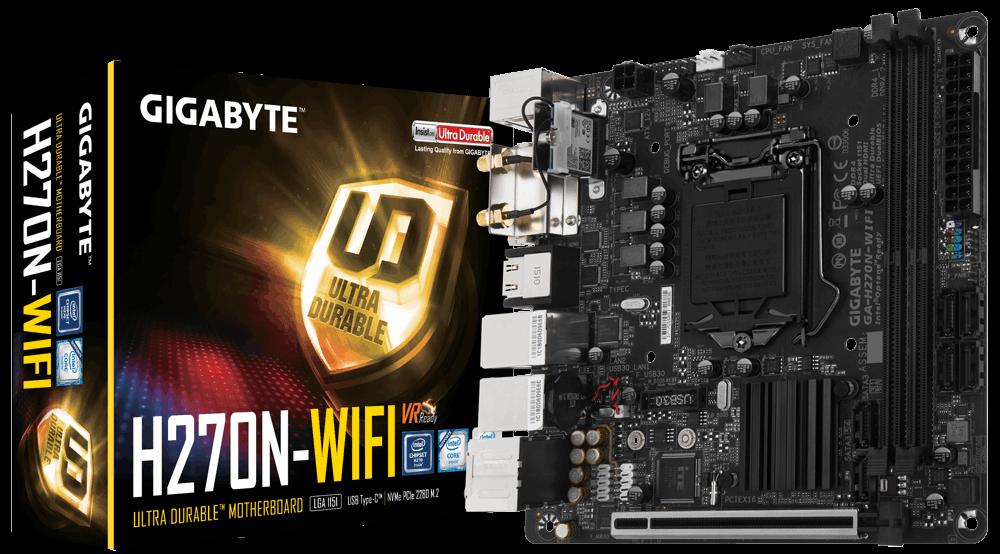 Gigabyte GA-H270N-WIFI, H270N, DDR4, M.2, SATA, USB 3.1 Gen 1