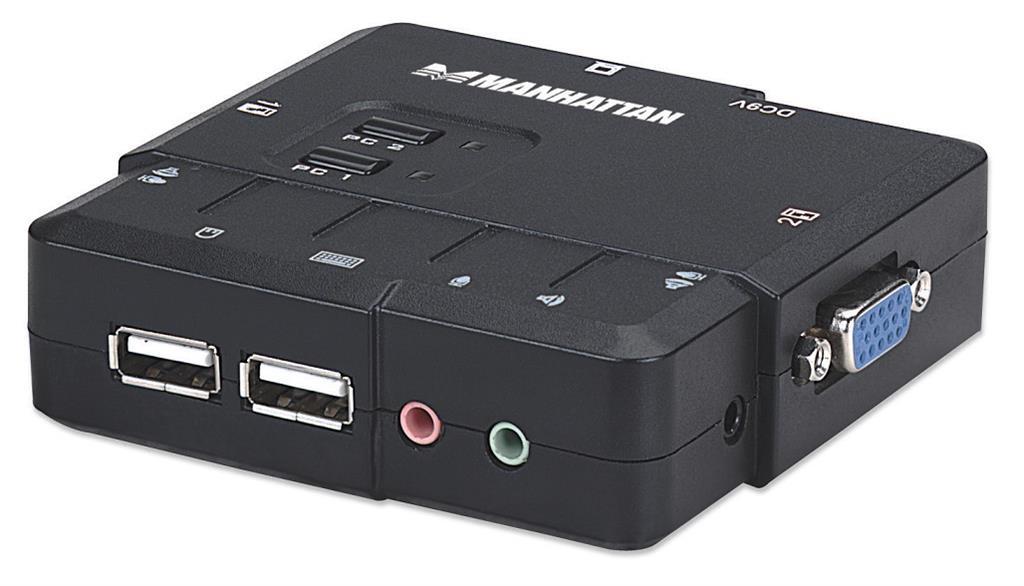 MANHATTAN KVM přepínač 2 porty, VGA, USB, audio, včetně kabelů