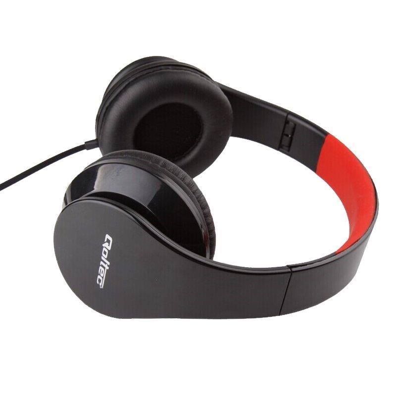 Qoltec Stereo sluchátka s mikrofonem, ovládání, 1.2m, černo-červená
