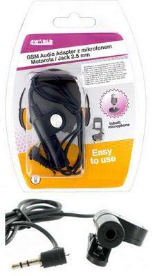 4World Audio adaptér s mikrofonem pro Motorola Jack 2.5mm A1000/630/728/820 C300