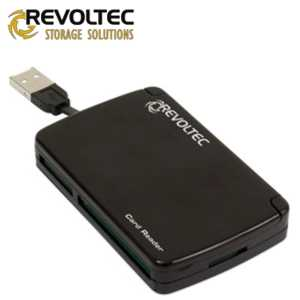 Revoltec přenosná čtečka paměťových karet 80v1, USB, černá