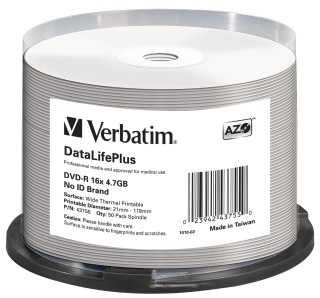 Verbatim DVD-R   cakebox 50   4.7GB   16x   Thermal Printable ]