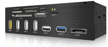 IcyBox 5.25'' Card Reader With Multiport Panel, 60 Card Types, USB 3.0, eSATA