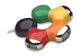 Manhattan ohybný USB 2.0 Hub, 4 porty, barevný