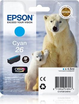 Inkoust Epson T2612 cyan Claria   4,5 ml   XP-600/700/800