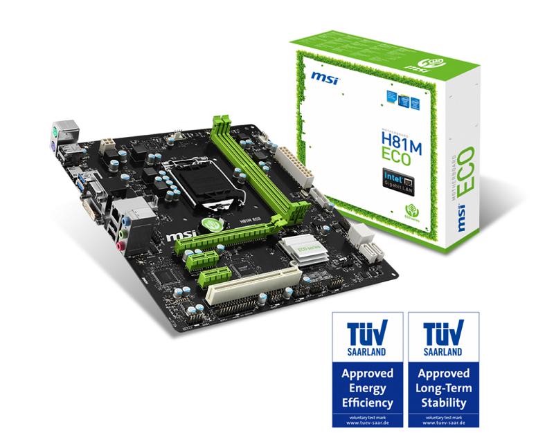 MSI H81M ECO, H81, LGA1150, 2DDR3 ,4xUSB3 ,2xSATA3 ,HDMI ,DV