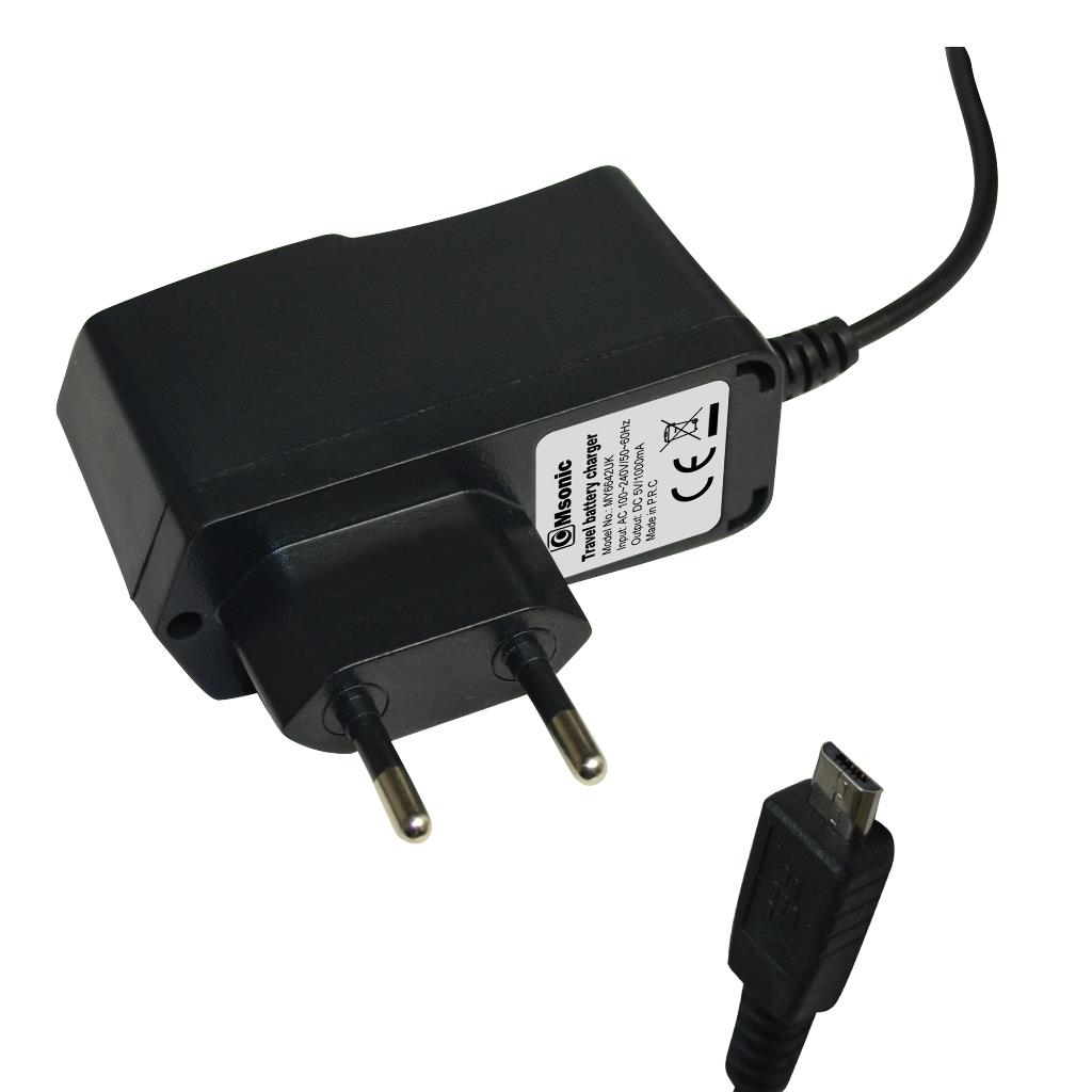 MSONIC nabíječka s micro USB, 1A, AC 100~240V MY6642UK černá