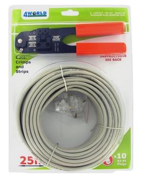 4World Patch kabel 25m Gray + kleště + 10ks RJ45