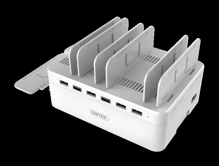 Unitek Y-2181 nabíjecí dokovací stanice 6x USB 60W pro smartphony a tablety