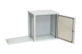 Netrack závěs./stoj. rack 19'' 12U/450 mm, skleněné dveře, šedý,odnímat.boč.pan.