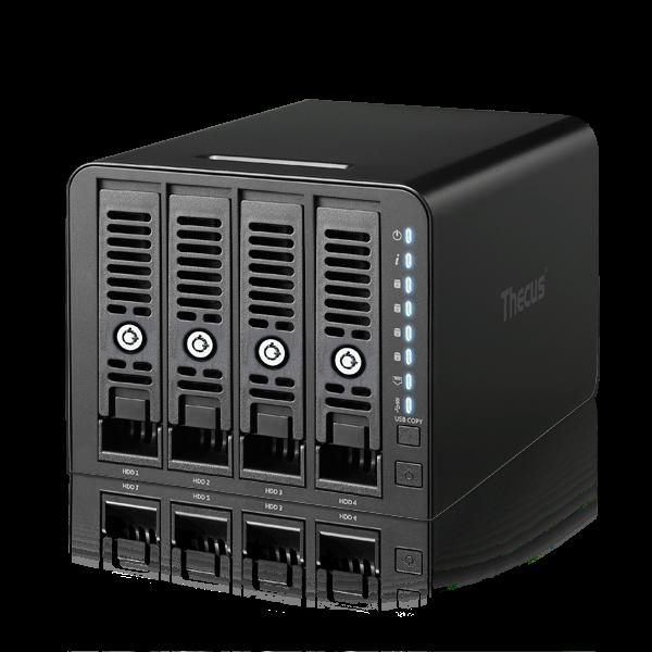 Thecus 4-Bay tower NAS, SATA, 1.8GHz, 1GB DDR4, 1x GbE, USB 3.0