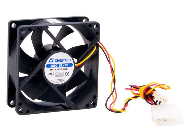 Chieftec AF-0825S ventilátor do PC skříně - 80x80x25mm - 3/4pin konektor