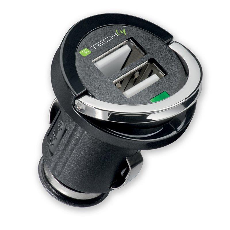 Techly nabíječka do auta USB 5V 2.1A, 12/24V, 2 USB porty, černá
